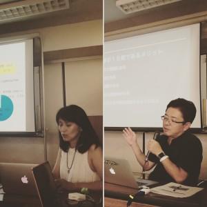 VOICE JAPAN高橋茂さん(右)とアンケート結果を報告する若林さん(左)