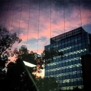 委員会終了後、控室から綺麗な夕焼けが見えました。